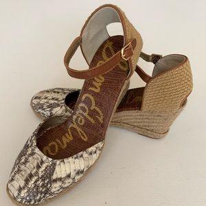 Sam Edelman leather python wedge espadrille 9.5